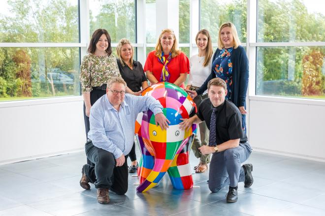 Sunderland Sponsors with Elmer Sculpture